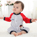 1 PC Baby Clothing Organic Cotton Long Sleeve Baby Coverall Red and Blue Stripes Baby Romper Climbing Clothes ATLL0084