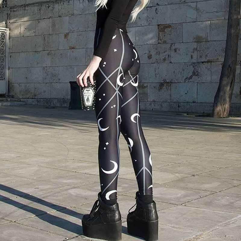 Punk Schwarz Gothic Herbst 2019 Sexy Club Frauen Leggings Fitness Geometrische Drucken Push Up Mond Hohe Taille Weibliche Mode leggins