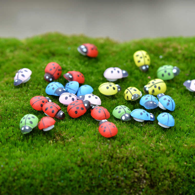 100pcs/Set Micro-Landscape Decorations Resin Ladybird Red Beetle Ladybug Fairy Doll House DIY Yard Garden Decor Ornament