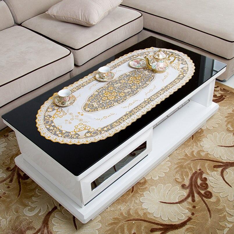 Europa Stil PVC Goldenen Pailletten Tischdecke Tee Tisch Wasserdicht Ovale Spitze Wohnzimmer Tuch