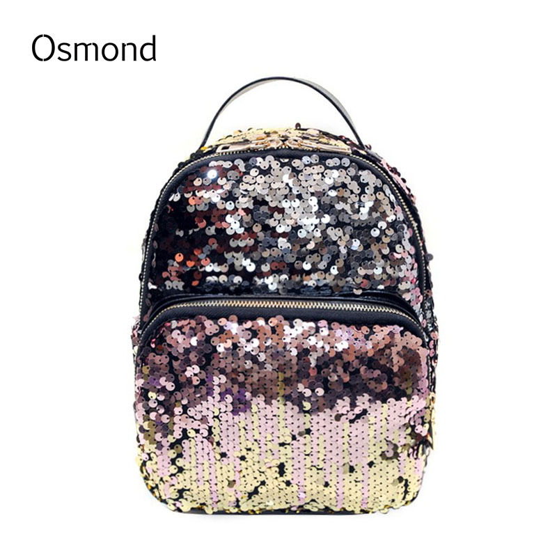 Osmond High Quality 2017 Fashion Sequins Backpack Women BlingBling Leisure Travel Bag Student Small Paillette School