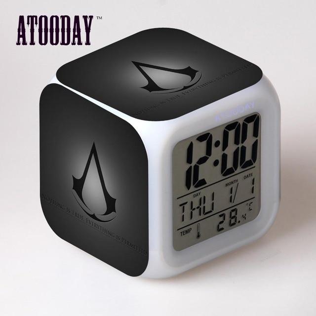Atooday In S Creed Alarm Clock Led Light 7 Color Change Horse Desk Watch Klok Table Square Digital Vintage