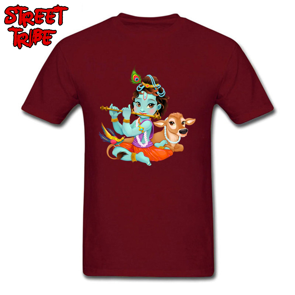 Short Sleeve Tops Tees Round Collar 100% Cotton Men T-Shirt Baby Krishna with sacred cow Printing Tops T Shirt New Coming Baby Krishna with sacred cow maroon