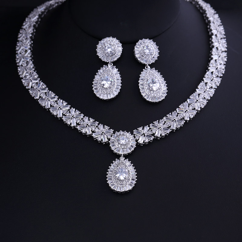 94f31ab06 Luxury white gold-color Elegant Shape Bridal Cubic Zirconia Necklace  Earrings Sets Big Wedding Jewelry
