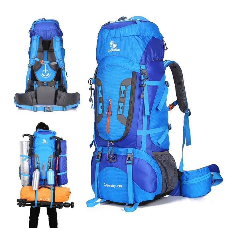 80L Camping randonnée sac à dos alpinisme sac grande capacité Trekking sac à dos en plein air sac à dos randonnée Camping tente aluminium