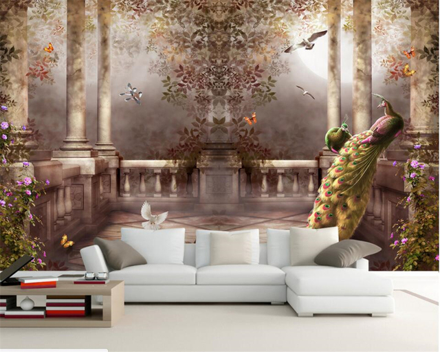 Merveilleux Beibehang European Style Garden Roman Column Three Dimensional Oil Painting  3D Living Room Bedroom TV
