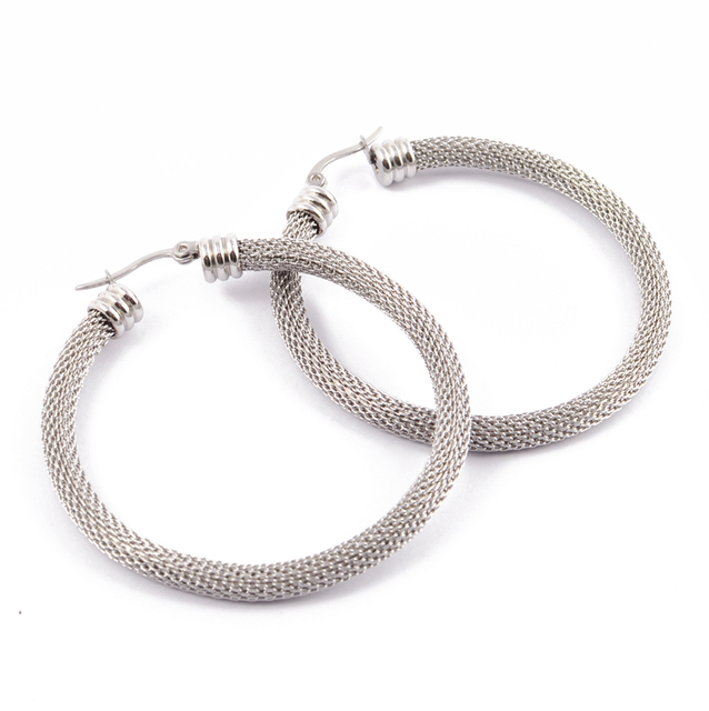 Fashion Women Net Surface Hoop Earrings Silver Gold Stainless Steel Size Cable Mesh Huggie