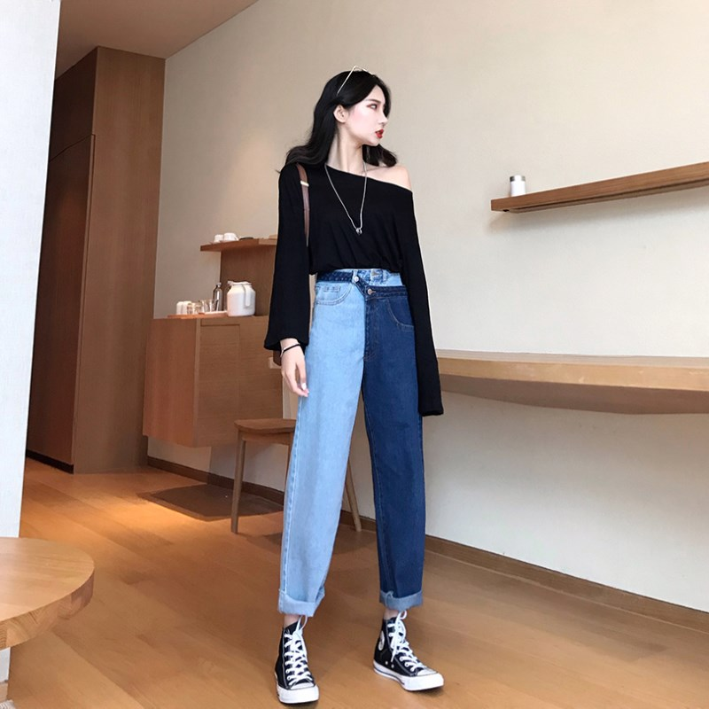 JUJULAND 2018 New Summer Fashion Tide Blue High Waist Patchwork Hit Color Detachable Fake Two Piece Woman Straight Pants