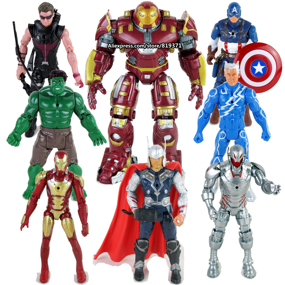 <font><b>Hot</b></font> <font><b>Toy</b></font> 8pcs/1sets <font><b>avengers</b></font> 2 <font><b>age</b></font> <font><b>of</b></font> <font><b>ultron</b></font> Hulkbuster iron man Captain America Thor Hulk Hawkeye Action Figures collectibles