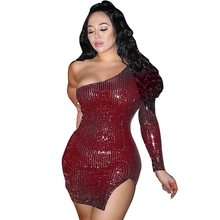 цена на spring women's sequin dress sexy side slit one shoulder sequins with lining dress