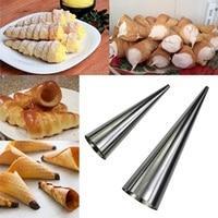 1Pc Kitchen Baking Stainless Steel Spiral Baked Croissants DIY Horn Baking Cake Tool for Cream Horns Home Dessert#236135