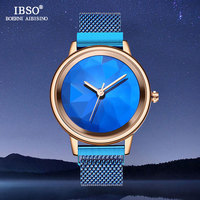 IBSO Blue Watches Women Brand Luxury Stainless Steel Ladies Quartz Watch 2019 New SK Women Bracelet Watches Reloj Mujer #8806SS
