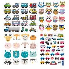 Ensemble de patchs lavables à transférer sur vêtements, nouveau Design de décoration de voitures, mignons animaux, transfert de chaleur