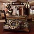 Урожай твердой древесины античный телефон старый вращающийся диск старинные телефон