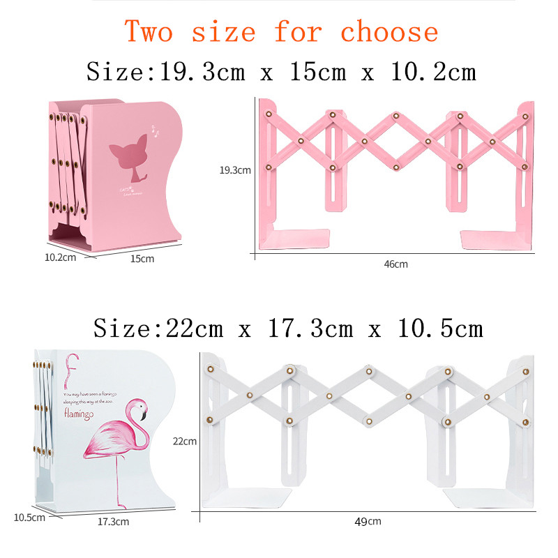 1PC Kawaii Unicorn Metal Desk Book Holder Retractable Bookends Students Desk Organizer Office School Home Bookshelf Stationery 5