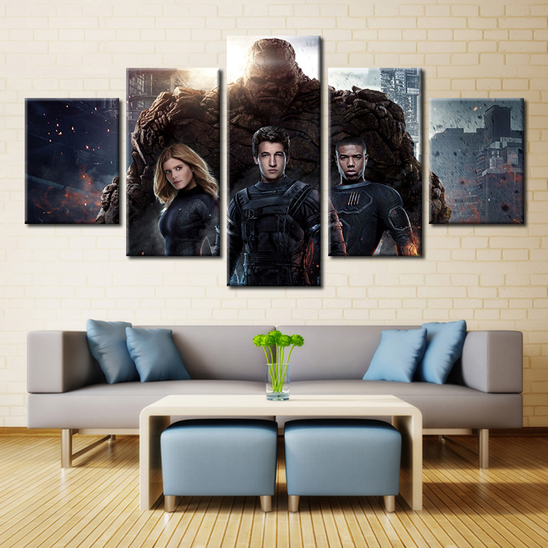 Forbeauty 5 Piece Canvas Painting for Livingroom Fantastic <font><b>Four</b></font> (2015) <font><b>Blu-ray</b></font> Miles Teller Kate Mara