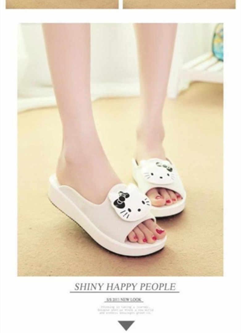 Novas Mulheres de Verão Olá kitty Chinelos Sandálias Estilo Casual Slides Flats Creeper yey-0566