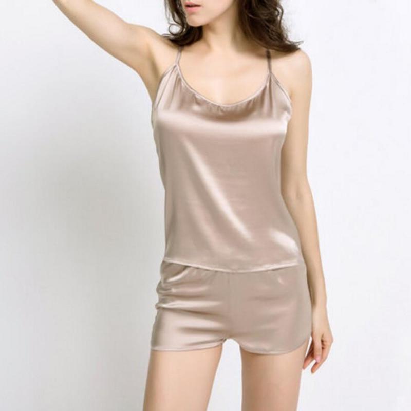 Brand pajamas sets for women Sexy Cami Top and Shorts 100% Silk Sleepwear Women Two Piece Pyjama Sets Real Silk women homewear