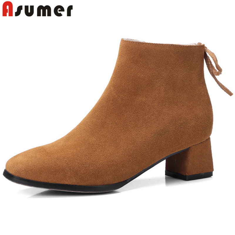 ASUMER black pink fashion spring autumn boots women square toe cross tied ankle boots thick heel suede leather boots 2018 new czrbt patchwork ankle boots women spring autumn cow suede leather pointed toe black high heel boots thick heel chelsea boots