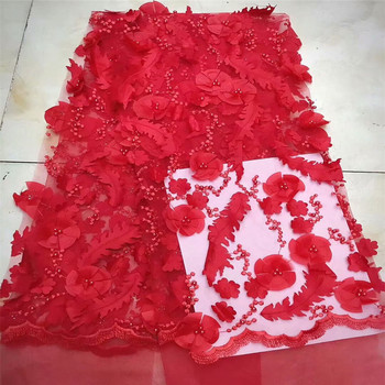 Best Selling French Red African 3d Flower Beaded Tulle Lace Fabric For Evening Dress X555-5