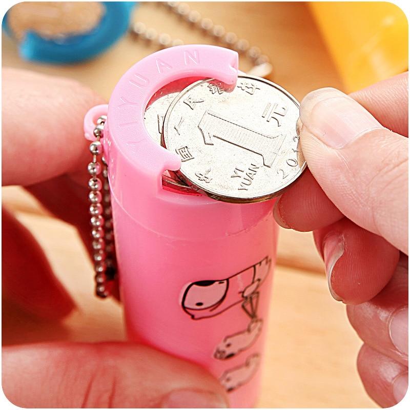 2 Pcs/lot Cartoon Plastic Round Money Box Portable Purse 8.5x3x2.5cm Piggy Bank Coin Holder Change Organizer Tube Saving box