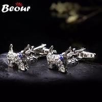 Biżuteria Wysokiej Jakości Łącza Mankiet White Crystal Pies Spinki 0385