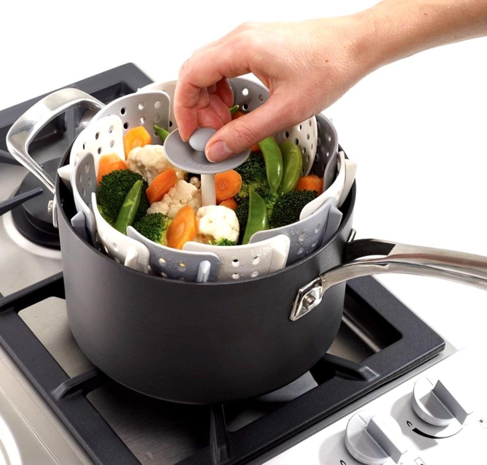 Kitchen Food Steamer ~ Food steamer silicone kitchen folding basket