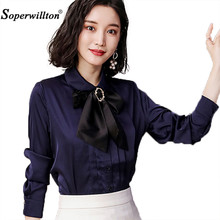 New 2018 Spring Office Bow Tie Blouse Women Long Sleeve White Button Necktie Shirts Female Elegant Work Shirt Casual Top Tops(China)