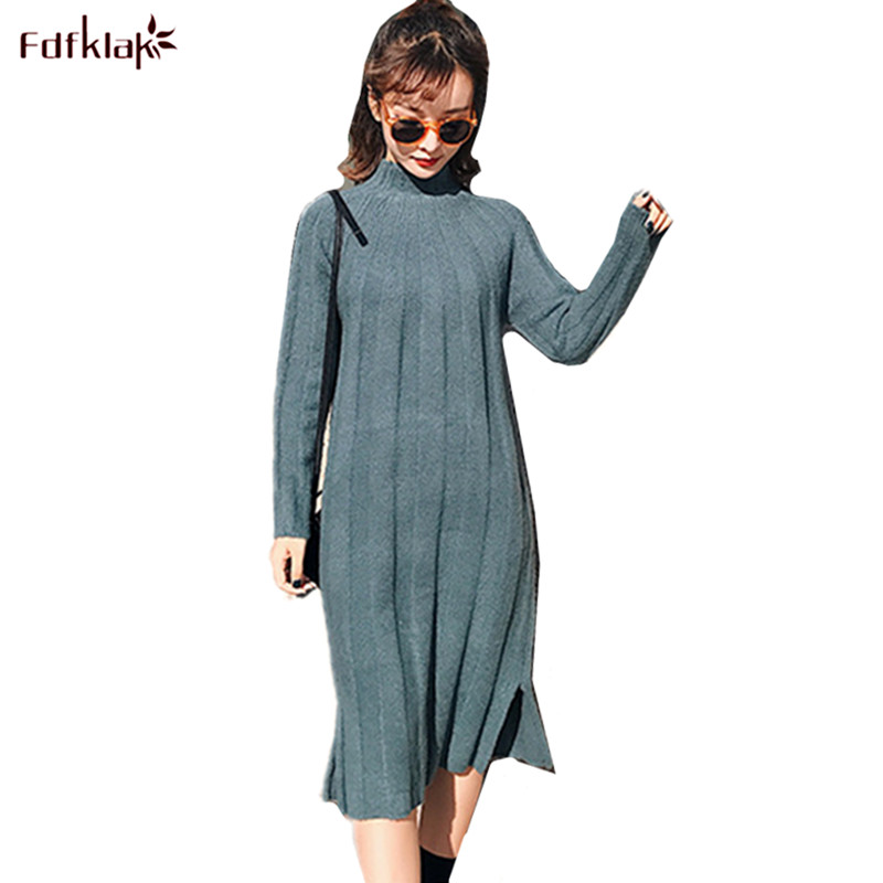 Fdfklak England Style Vestidos 2018 New Autumn Winter Dress Female Long Sleeve Knitted Wool Dress Women Cashmere Dresses readit knitted dress 2017 autumn winter side split with faux pearl beading long sleeve elegant slim dress vestidos d2745