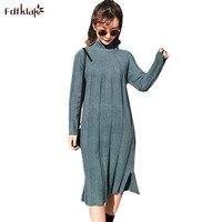 Fdfklak England Style Vestidos 2018 New Autumn Winter Dress Female Long Sleeve Knitted Wool Dress Women Cashmere Dresses