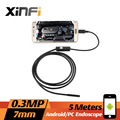 Xinfi 7MM 5M 0.3MP cable Mobile Endoscope 640*480 Android Borescope for Laptop with OTG /UVC USB Adapter Snake Inspection Camera