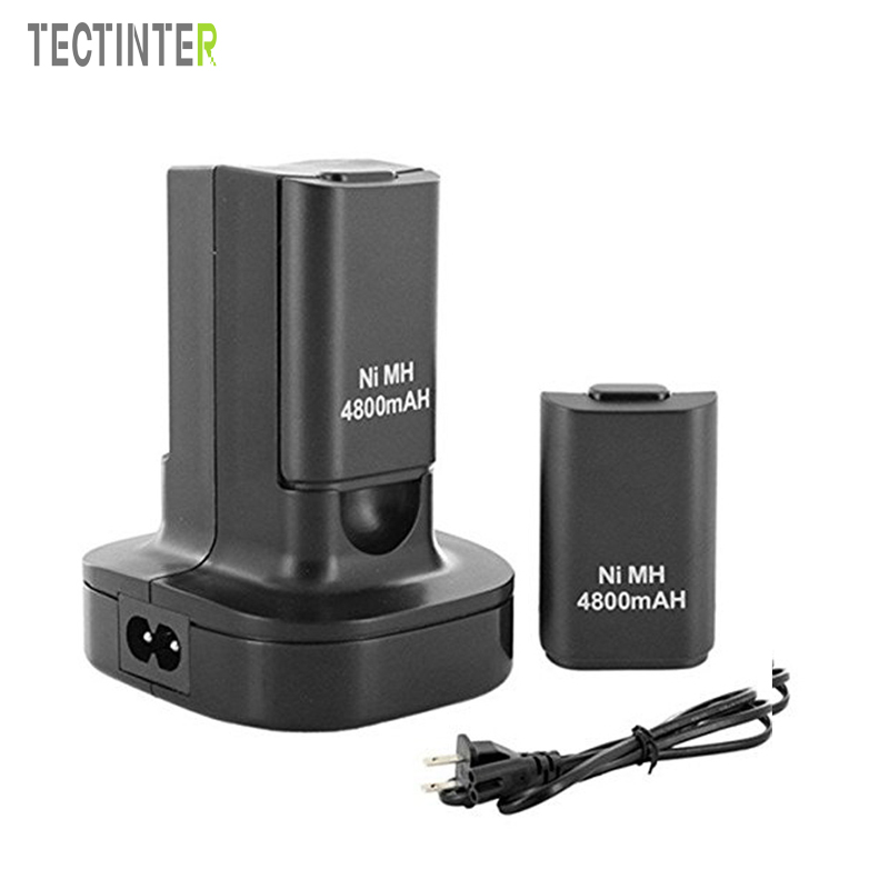 High Quality Black Dual Charger Base & 2 Rechargeable Battery 4800mAh For Xbox 360 Controller