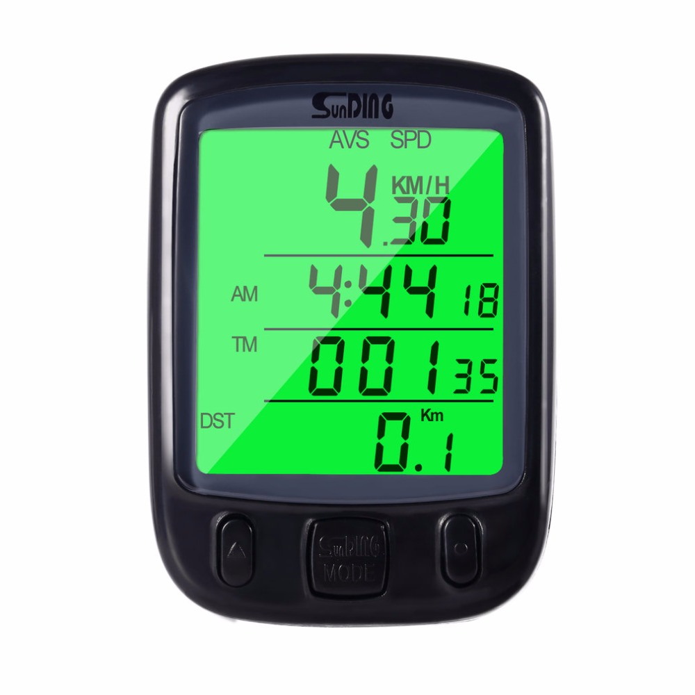SunDing Bicycle Computer Waterproof Cycling Odometer Speedometer with Green LCD Backlight Bike Computer SD-563B 1 5 lcd electronic bicycle computer speedometer blue white 1 x lr1130