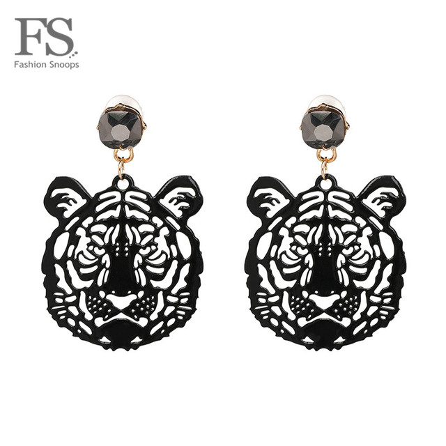 FASHIONSNOOPS Hot Brand 2018 Drop Tiger Head Earrings Resin Big Earring Large Br