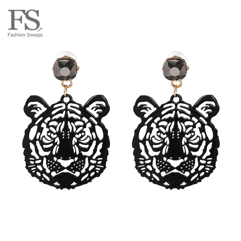 FASHIONSNOOPS Hot Brand 2018 Drop Tiger Head Earrings Resin Big Earring Large Brinco Ear Accessories Oorbellen Grils Party Gift
