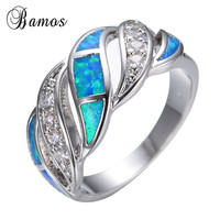 Blue Sapphire Jewelry Crystal Opal Ring 14KT White Gold Filled 925 Sterling Silver Jewelry Wedding Rings