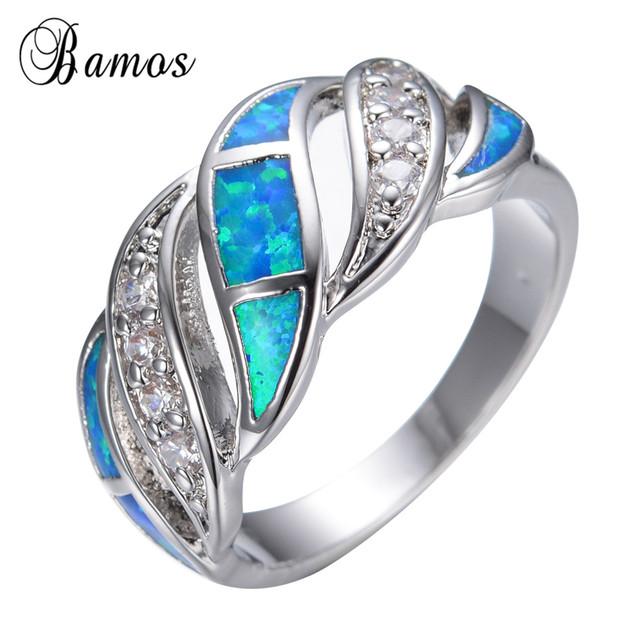 New Blue Fashion Jewelry Crystal Fire Opal Ring 14KT White Gold filled  OQ63
