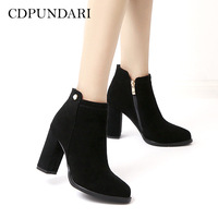 CDPUNDARI Black Genuine Leather Ankle boots for women High heel boots Winter shoes Khaki