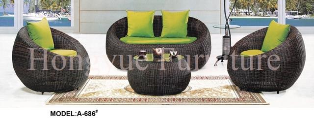Conjunto de sofás de mimbre al aire libre muebles con cojines y almohadas venta