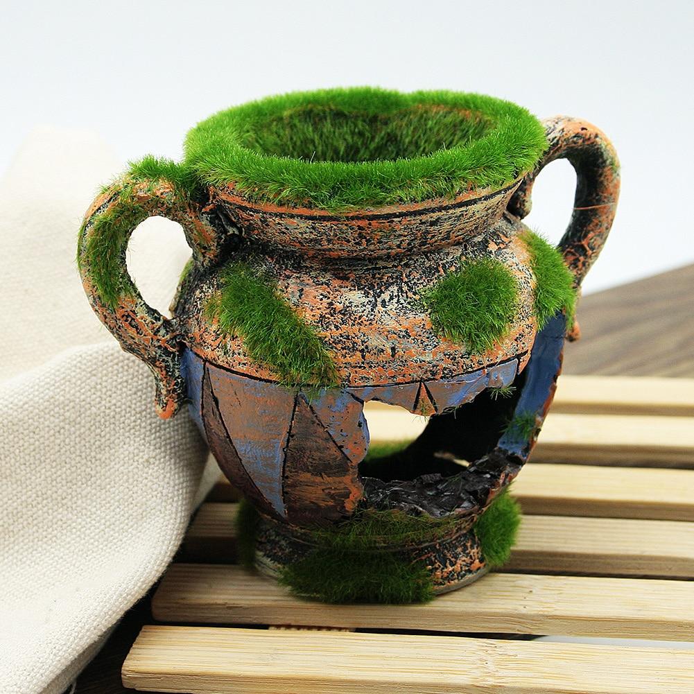 Aquarium Decorations Resin Vase With Moss Fish Tank Background Ornaments For Fish Shrimp Tank Landscape Accessories