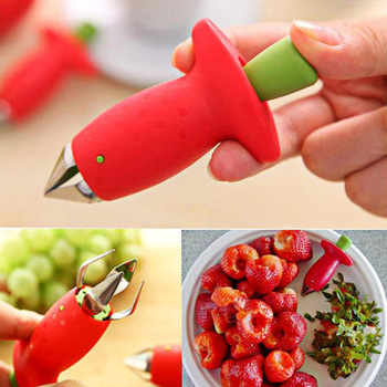 1Pcs Strawberry Huller Fruit Leaf Remover kitchen accessories Metal Tomato Stalks Plastic Stem Remover Gadget Kitchen Tool 1