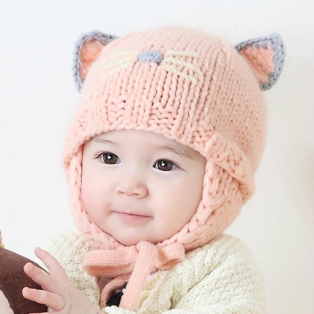 2017 Nuevo Bebé niños Crochet sombrero Adorable Kitty diseño niños sombreros  de invierno muchachos de las f8ed984968a