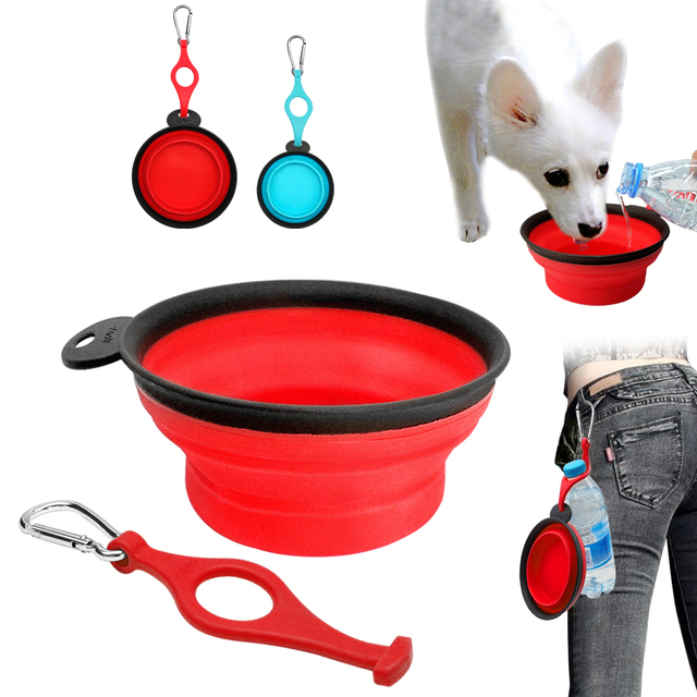 Collapsible Dog Bowl Silicone Foldable Dogs Feeder Dish Pet Cat Water Feeding Portable For Travel Free Carabiner Red Blue