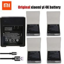 Original 4 pcs xiaomi yi 4 K bateria + Dual USB carregador de bateria yi Yi 4 k Para Original xiaomi 2 Xiao yi 4 k Câmera acessórios