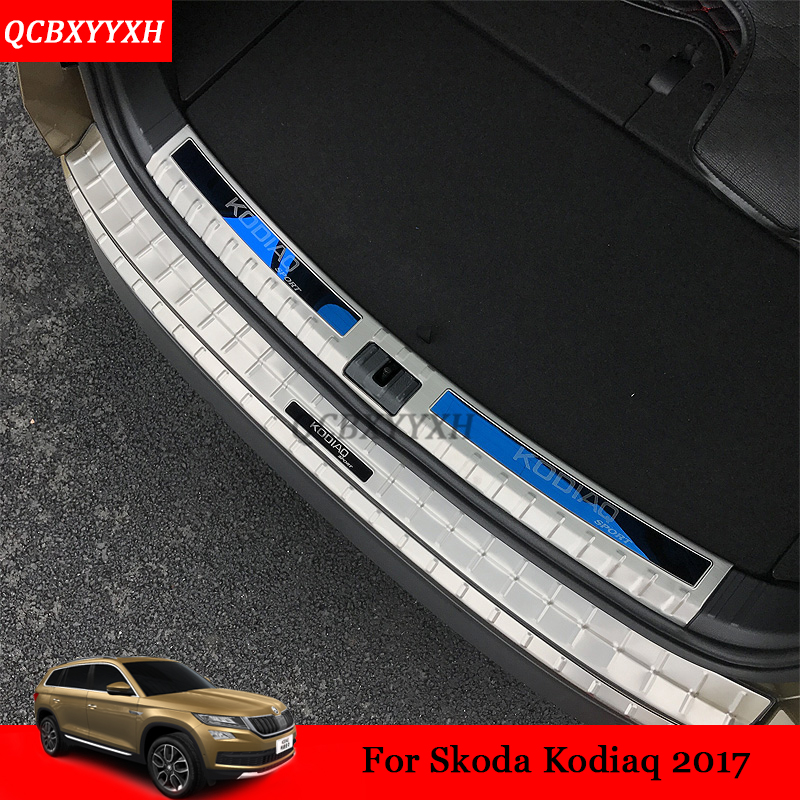 Car Styling Stainless Steel For Skoda Kodiaq 2017 Internal external Scuff Plate / Door Sill threshold Trim Decoration Accessory carbon fiber vnyl door sill scuff plate welcome pedal threshold protect stickers for mazda cx 5 cx5 2014 2015 8pcs car styling