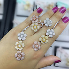 GODKI Fashion Luxury Super Shiny Gold Color AAA Cubic Zirconia Women Width Baguette Earring Ring Set
