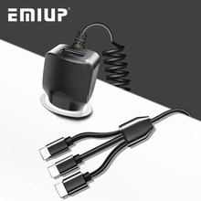 EMIUP USB Mobile Phone Car Charger For IPhone X 7 XS Max Car-Charger Micro USB Type C Charge For Samsung Xiaomi Huawei 3 in 1(China)