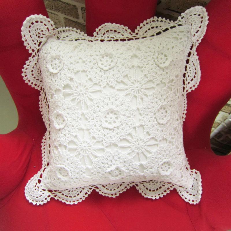 Hechos a mano crochet estéreo almohadas manga de la flor de ...