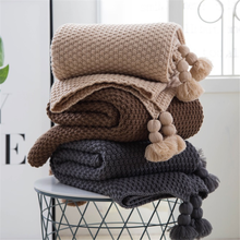 Nordic Style Acrylic Tassel Blanket Knitted Sofa Bed Throw Blanket Handmade Quilt Travel Plane Bedspread 4 Colors 130*170cm(China)