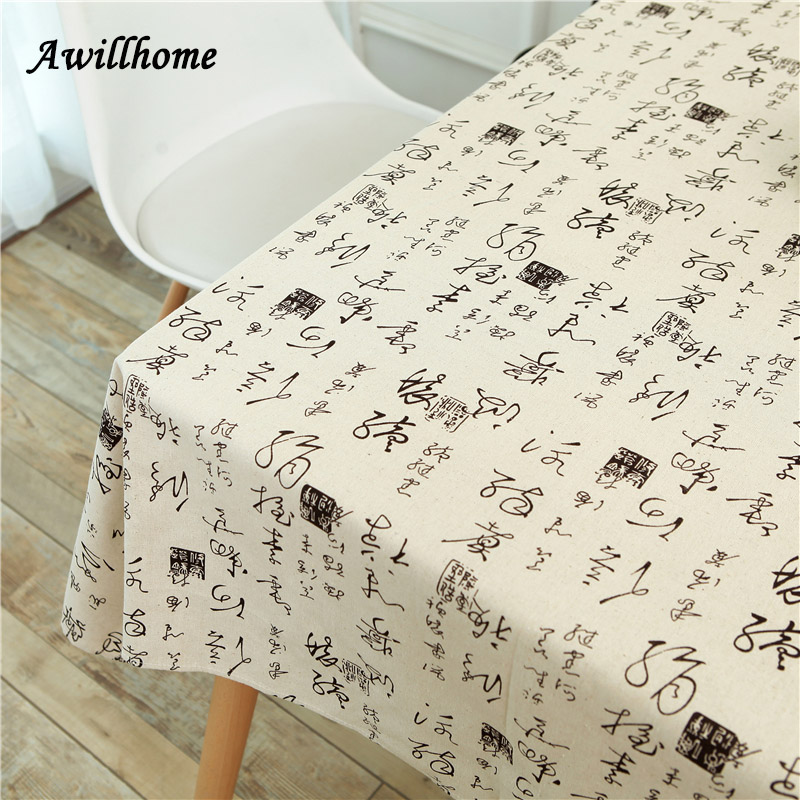 Awillhome 11Size White Modern Tablecloths Home Rectangle Tablecloth Plaid  Linen Dining TableCloth Chinese Character Table Covers In Tablecloths From  Home ...